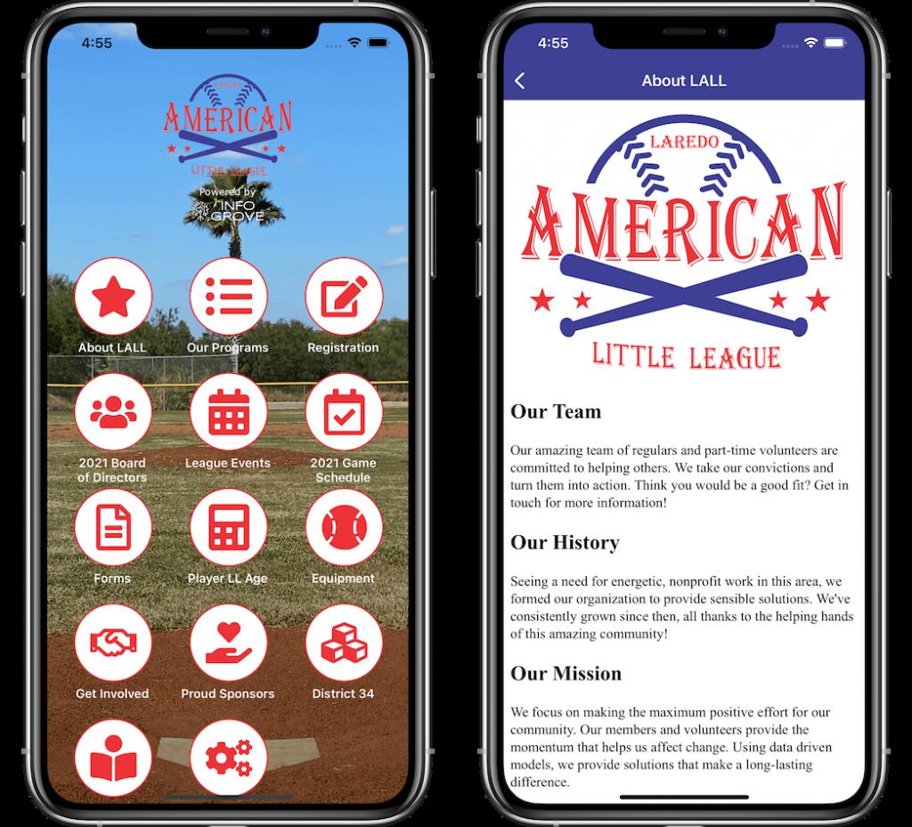 Info Grove Laredo Little League App Screenshots